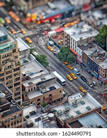 New York; USA; June 2014: Aerial view of street in New York City with tilt shift selective focus