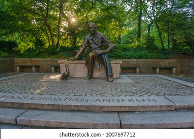 NEW YORK, USA - JUNE 2016: Hans Christian Andersen statue in Central Park, New York. He was a famous Danish author, a prolific writer of plays, travelogues, novels, and poems.