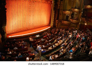 NEW YORK, USA - JUNE 2016: People visit the new Amsterdam Theatre, a Broadway theatre located at 214 West 42nd Street between Seventh and Eighth Avenues in the Theater District of Manhattan