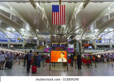 NEW YORK, USA - JUNE 2016: Interior of the JFK JFK Airport in New York. It is the busiest international air passenger gateway into the United States.