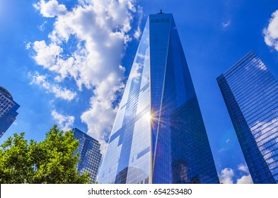 NEW YORK, USA - JUNE 2016: The One World Trade center or Freedom Tower located in New York City. Architectural modern buildings at lower Manhattan skyline. United States of America.