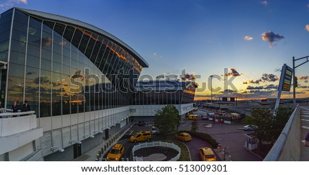 NEW YORK, USA - JUNE 2016: Exterior of the JFK Airport in New York. It is the busiest international air passenger gateway into the United States.