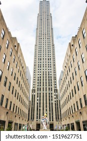 New York, USA; June 23, 2017; Rockefeller Building also known as Top of Rock rising to the sky