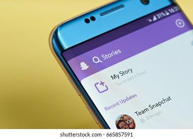New york, USA - June 23, 2017: Snapchat application menu on smartphone screen close-up. Using snapchat app