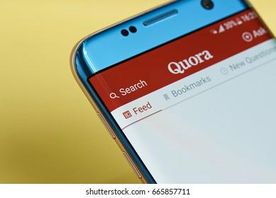New york, USA - June 23, 2017: Quora application menu on smartphone screen close-up. Using Quora app