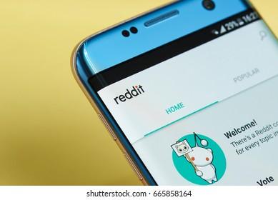 New york, USA - June 23, 2017: Reddit application menu on smartphone screen close-up. Using sReddit app