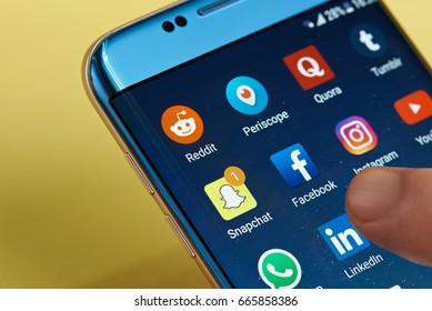 New york, USA - June 23, 2017:Social media icons on smartphone screen close-up. Starting social media app