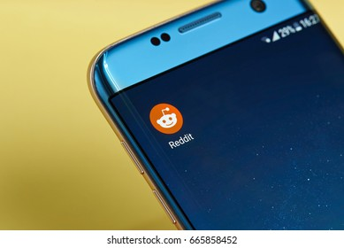 New york, USA - June 23, 2017: Reddit application icon on smartphone screen close-up. Reddit app icon with copy space on screen