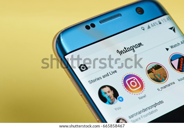 New york, USA - June 23, 2017: Instagram application menu on smartphone screen close-up. Using Instagram app