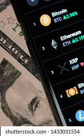 New york, USA - June 24, 2019:Price  chart of cryptocurrency   on smartphone screen close up