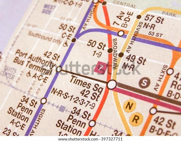 NEW YORK, USA - JUNE 25, 2008: Subway map of the New York underground lines vintage