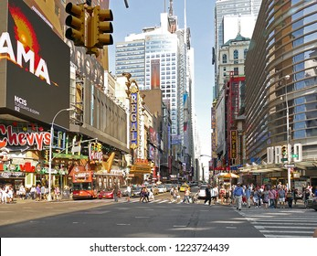 New York, USA - June 26. 2016: Afternoon traffic in Manhattan on a sunny day near Times Square