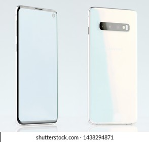 New york, USA - June 28, 2019: Back and front view of white samsung galaxy s10 isolated on studio background