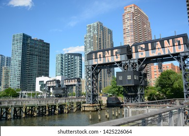 New York, USA - June 3, 2019: Pier in Gantry Plaza State Park in Queens