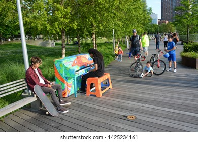 New York, USA - June 3, 2019: Piano in Gantry Plaza State Park in Queens