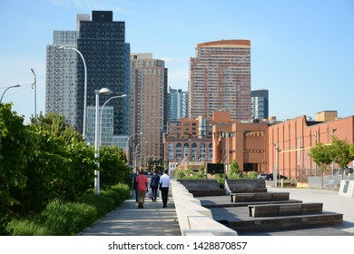 New York, USA - June 3, 2019: Gantry Plaza State Park in Queens
