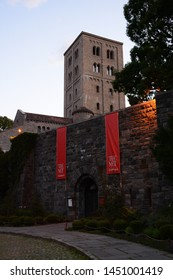 NEW YORK, USA - JUNE 30, 2019: The Cloister Center of Medieval Art in Fort Tryon Park