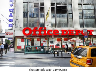 New York, New York, USA - June 30, 2011: An Office Depot in Midtown Manhattan. Office Depot is a chain of stores that sells office supplies and equipment. People can be seen on the street.