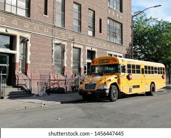New York, USA - June 5th 2019: Jewish Hasidic School bus in Williamsburg