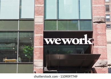New York, New York, USA - June 7, 2018: A Wework facility on West 25th street in Manhattan.