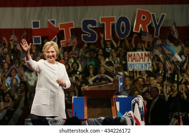 New York, New York, USA; June 7th, 2016; Democratic US presidential candidate Hillary Clinton speaks at her primary night victory rally at the Brooklyn Navy Yard in New York.