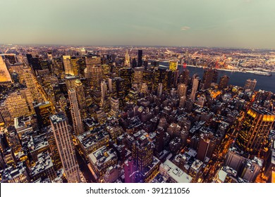 New York USA - March 03 2016: Manhattan. Night lights from the air.