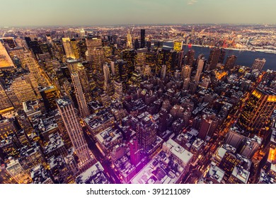 New York USA - March 03 2016: New York, Manhattan. Night lights from the air.