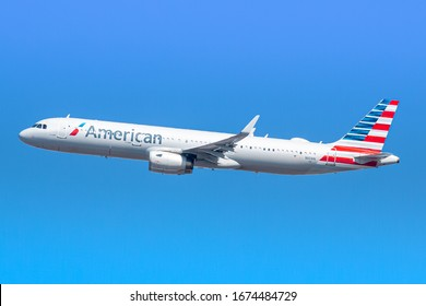New York, USA - March 1, 2020: American Airlines Airbus A321-200 airplane at New York John F. Kennedy airport (JFK) in the USA. Airbus is an aircraft manufacturer based in Toulouse, France.