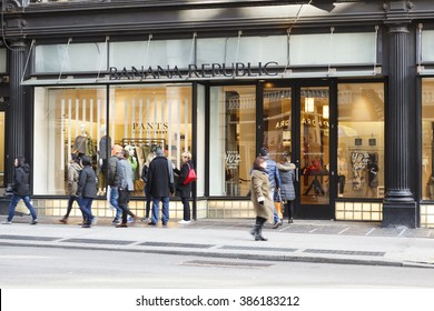 New York, New York, USA -  March 1, 2016: Banana Republic on Broadway in Soho. Banana Republic is a large clothing retailer. People can be seen.