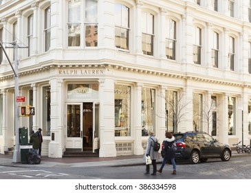 New York, New York, USA -  March 1, 2016: The Ralph Lauren Store on the corner of Prince and Greene St. in Soho Manhattan. People can be seen.