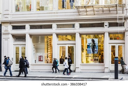 New York, New York, USA -  March 1, 2016: The Uniqlo store in the Soho area of Manhattan on Broadway. Uniqlo is a Japanese maker of mostly casual clothing. People can be seen.
