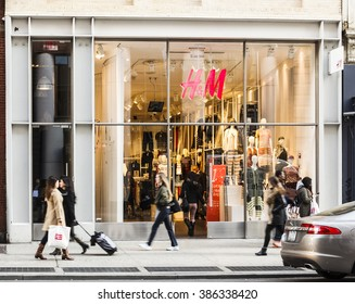 New York, New York, USA -  March 1, 2016: H&M on Broadway in Soho. H&M is a large clothing retailer. People can be seen.