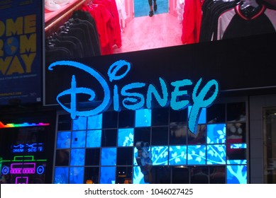 NEW YORK, USA - MARCH 10, 2018: Walt Disney Store In Times Square. People visit Times Square in New York. More than 300,000 people pass through Times Square daily. Famous Corporation, Children, Toys