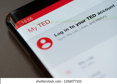 New york, USA - march 11, 2019: Log in to TED account  on smartphone screen close up view