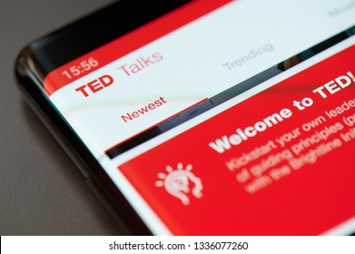 New york, USA - march 11, 2019: Ted talks app menu on smartphone screen close up view