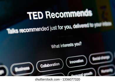 New york, USA - march 11, 2019: Ted talks recommended list on laptop screen close up