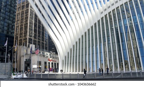 New York / USA - March 11th, 2018: View of a Oculus Building in Manhattan.