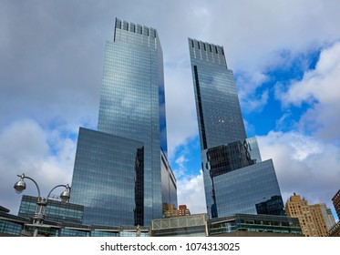 NEW YORK, USA - MARCH  16TH 2018; The twin towers of the Time Warner centre on the corner of Central Park, New York
