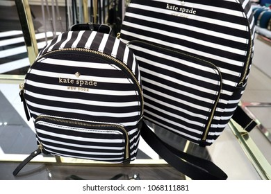 New York, New York / USA; March 17, 2018; Kate Spade purses and backpacks are photographed at a store in New York City.