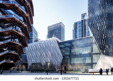 New York, New York / USA - March 20 2019: Park Vessel in new York, new public park in midtown Manhattan based on Stairs.