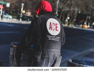 New York, USA / March, 2020 / A homeless volunteer worker, working for ACE, is seen walking the streets of New York. He is cleaning the streets of litter and being productive in his day job.