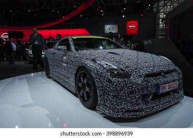 NEW YORK, USA - MARCH 23, 2016: Nissan GT-R Nismo Nurburgring record breaker on display during the New York International Auto Show at the Jacob Javits Center.