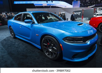 NEW YORK, USA - MARCH 23, 2016: Dodge Charger on display during the New York International Auto Show at the Jacob Javits Center.