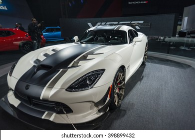 NEW YORK, USA - MARCH 23, 2016: Viper ACR on display during the New York International Auto Show at the Jacob Javits Center.