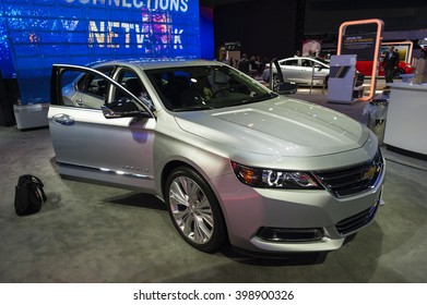 NEW YORK, USA - MARCH 23, 2016: Chevrolet Impala on display during the New York International Auto Show at the Jacob Javits Center.