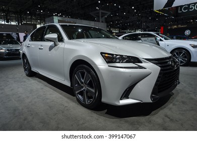 NEW YORK, USA - MARCH 23, 2016: Lexus GS 350 on display during the New York International Auto Show at the Jacob Javits Center.