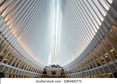 NEW YORK USA - MARCH 23RD 2018; Interior of the the Oculus interior hub of the World Trade Centre in New York