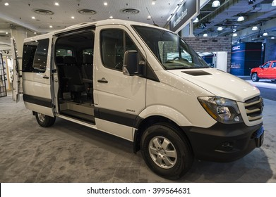 NEW YORK, USA - MARCH 24, 2016: Mercedes Sprinter passenger van on display during the New York International Auto Show at the Jacob Javits Center.