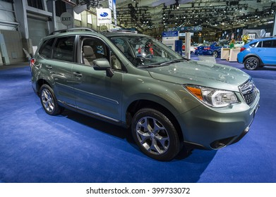 NEW YORK, USA - MARCH 24, 2016: Subaru Forester on display during the New York International Auto Show at the Jacob Javits Center.
