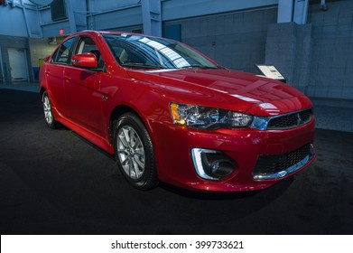 NEW YORK, USA - MARCH 24, 2016: Mitsubishi Lancer on display during the New York International Auto Show at the Jacob Javits Center.